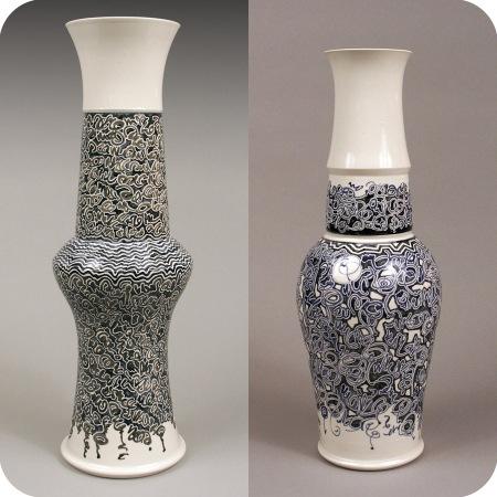 2 Blue and White Vases