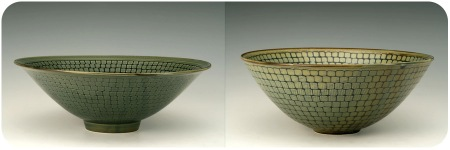 2 Etched Green Bowls