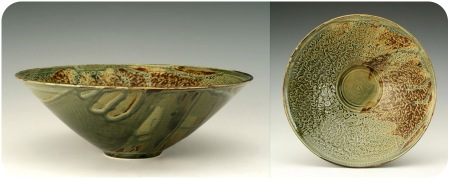 Etched Green Bowl
