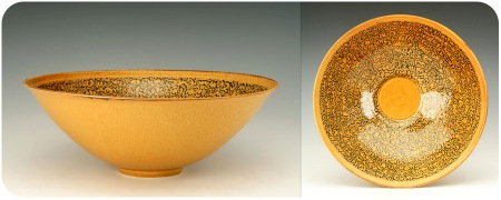 Etched Yellow Bowl with Blue Slip