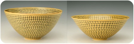 Etched Yellow Bowls with Blue Slip