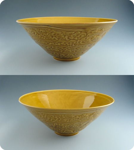 yellow etched bowl