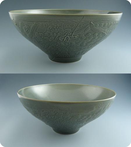 blue etched bowl